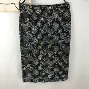 Anthro Burning Torch embroidered pencil Skirt